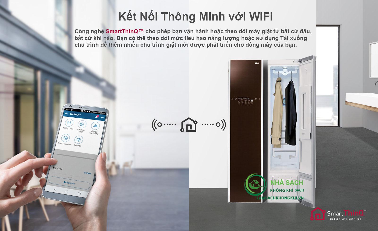 Tính năng kết nối thông minh với Wifi cho phép điều khiển thiết bị từ xa